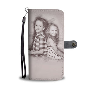 Personalized Sketched Art Wallet Phone Case