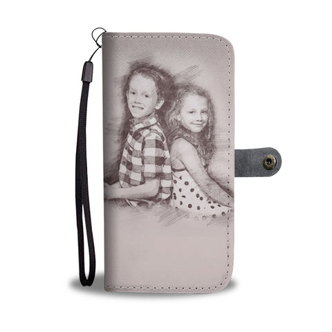Image of Personalized Sketched Art Wallet Phone Case