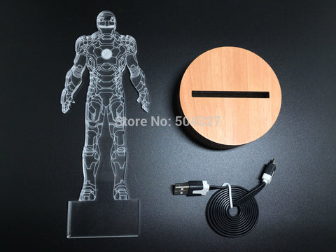 Iron Man Suit 3D Illusion LED Bulbing Table Lamp Night Light