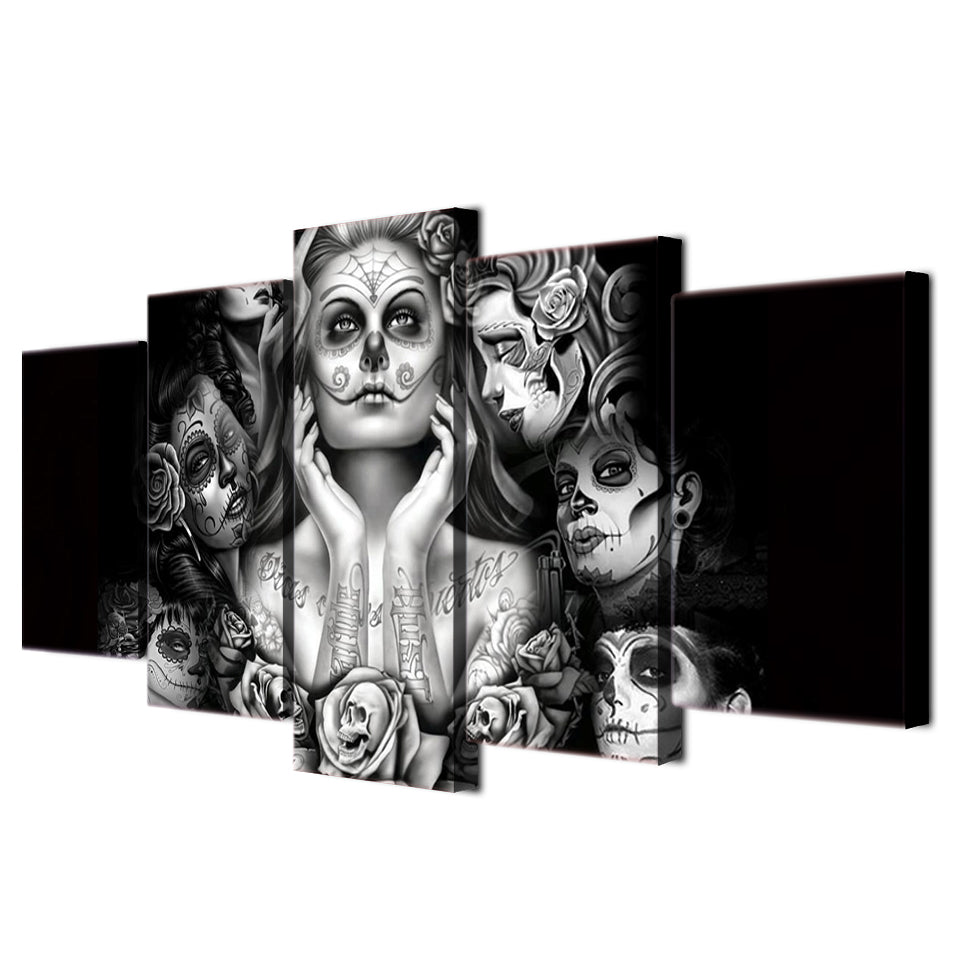 5PCS Print Calavera Tattoo Sugar Skull Girl - BLACK WHITE