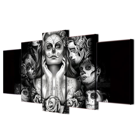 Image of 5PCS Print Calavera Tattoo Sugar Skull Girl - BLACK WHITE