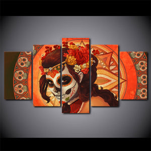 5 Piece Print Day of the Dead Face Calavera Tattoo Sugar Skull Girl