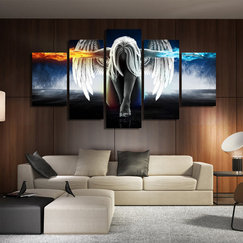 Image of 5 Piece Print Angel With Wings Painting