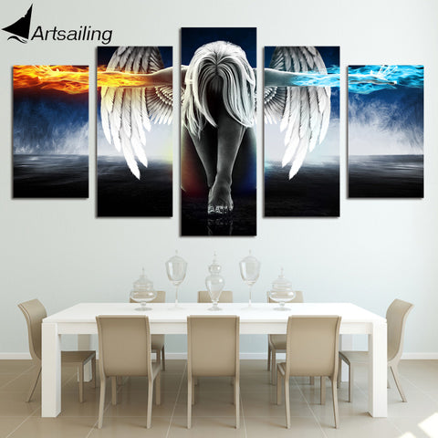 5 Piece Print Angel With Wings Painting