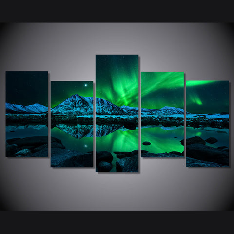 Image of 5 Piece Print Green Aurora Borealis