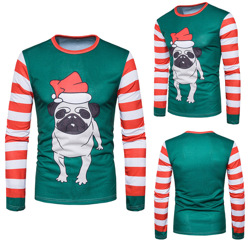 Men Autumn Winter Xmas Christmas PrintingTop Men's Long-sleeved T-shirt Blouse