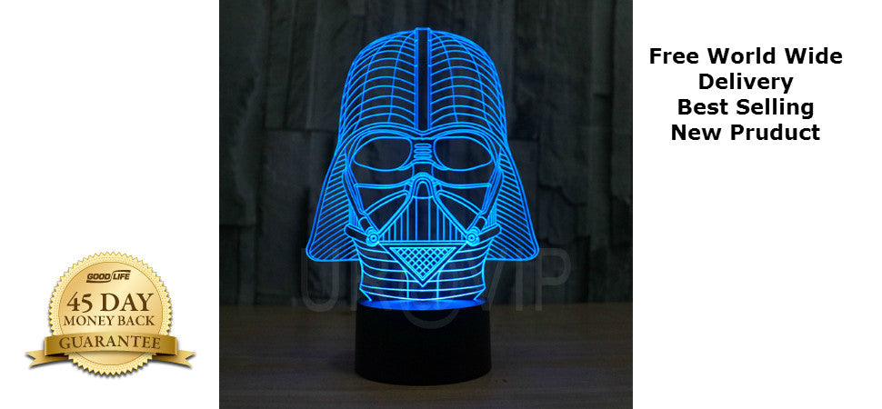 Star Wars 3D Illusion Darth Vader LED Bulbing Table Lamp Night Light Force Awakens Fans