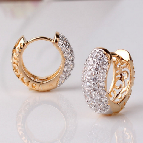 Image of Cubic Zirconia Hoop Earrings - Free Just Pay Shipping
