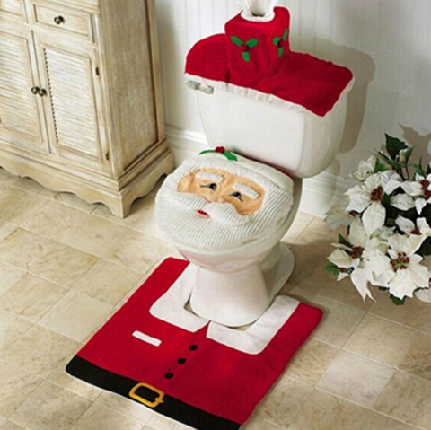 Happy Santa Toilet Seat Cover & Rug Bathroom Set