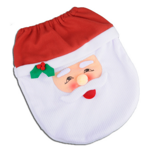 Image of Happy Santa Toilet Seat Cover & Rug Bathroom Set