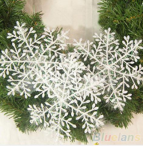 30Pcs White Snowflake Ornaments