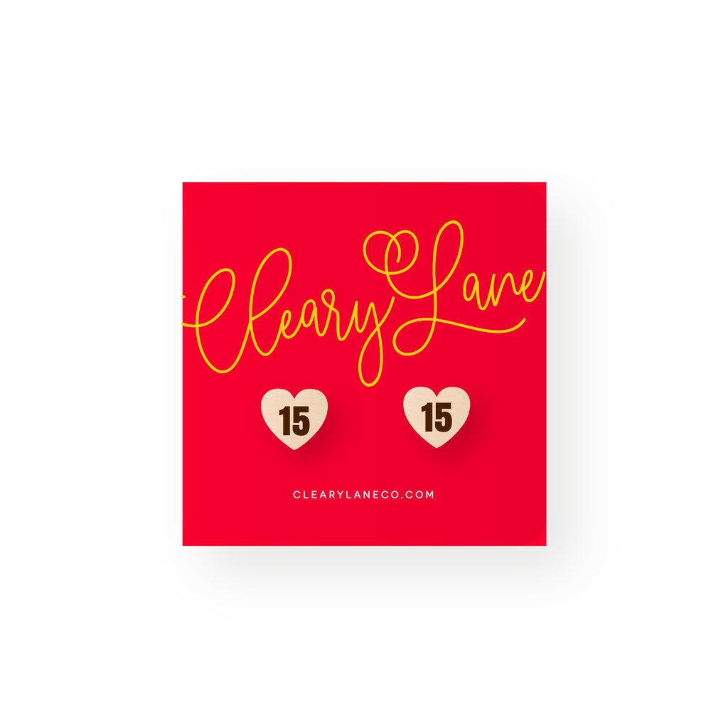 Kansas City KC Heart #15 Mahomes | Stud Earrings