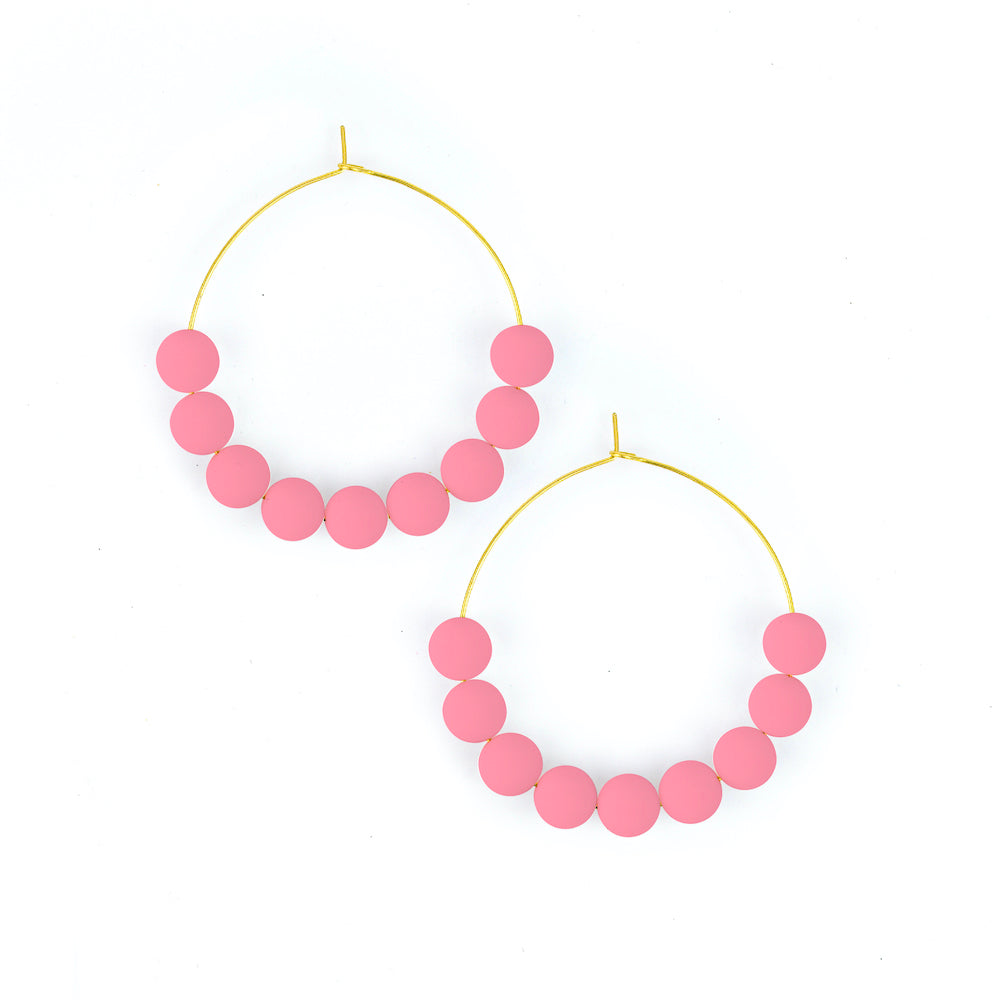 Baby Pink | Beaded Hoop Earrings