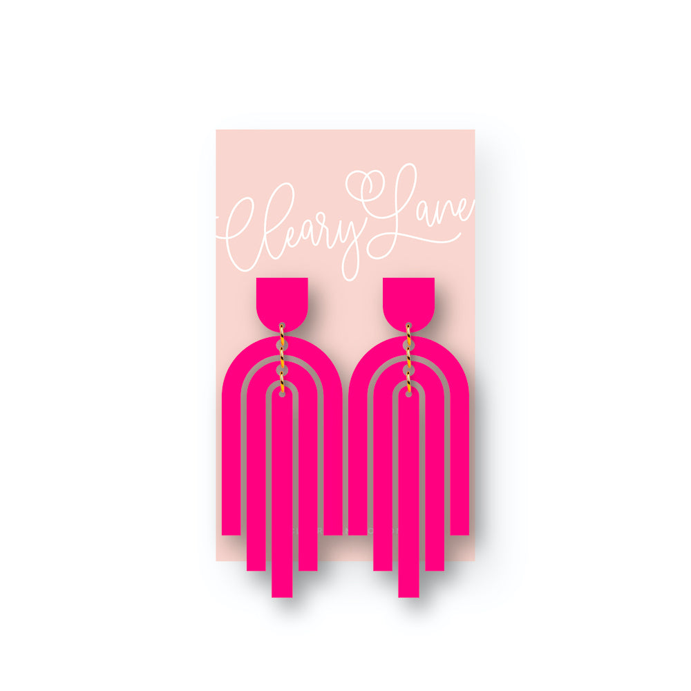 The Zoe | Hot Pink | Dangle Earrings