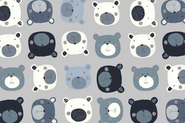 Avalana by STOF - Printed Cotton Jersey - Bears (Blue/Grey)