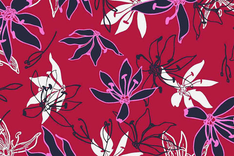 Avalana by STOF - Printed Viscose Jersey Flowers (Red)