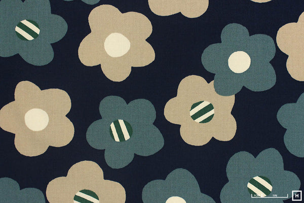 Cosmo Textile Printed Cotton Twill Modern Flower (1C Navy)