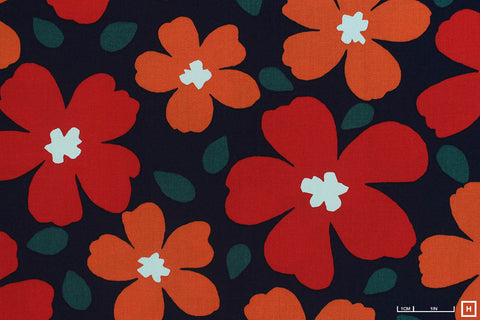 Cosmo Textile Printed Cotton Twill Modern Flower (2D Navy)