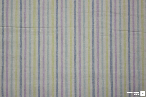 Sevenberry Printed Cotton Striped Double Gauze (Blue/Purple/Green)