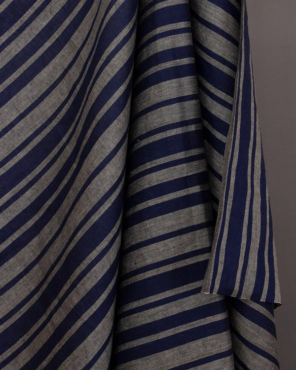 Lithuanian Striped Linen (Navy/Grey)