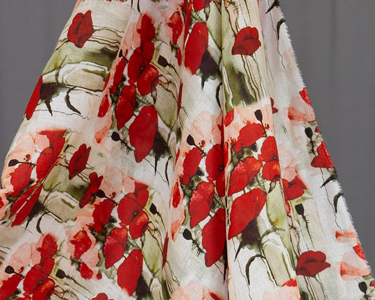 Tokyo Printed Floral Linen (Red)