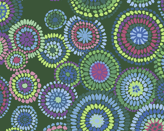 Free Spirit Kaffe Fassett Collective February 2020 Mosaic Circles (Green)