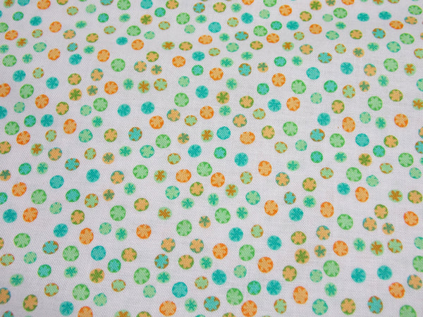 """Circlets"" Printed Cotton (Orange/Green)"