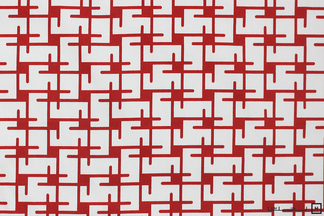 Symmetry Printed Cotton (White/Red)