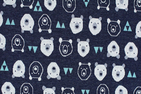 Kokka - Jacquard Knit - Bears (Blue)
