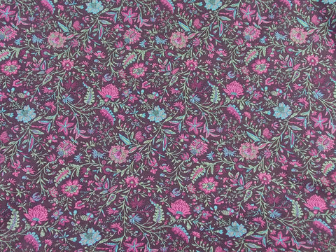 """Angel Creek"" Printed Floral Cotton Voile (Purple)"