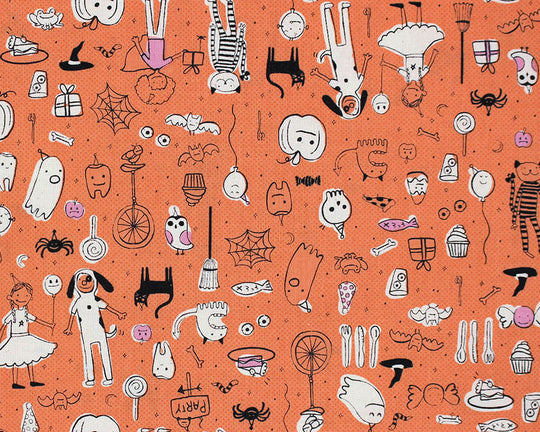 Cotton + Steel - Sarah + Melody - Lil Monsters - Party (Orange)