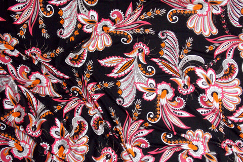Bright Paisley Viscose Jersey (Pink/Black)