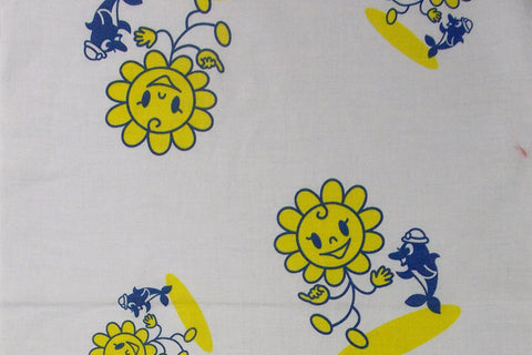 Happy Sunflower Kimono Cotton (White)