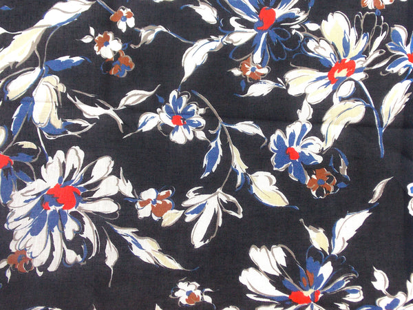 Retro Printed Floral Cotton (Black)