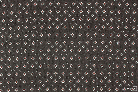 Kokka - Charcoal Small Crest Pattern - Corduroy (Brown)