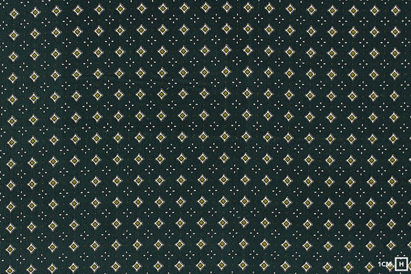 Kokka - Charcoal Small Crest Pattern - Corduroy (Green)
