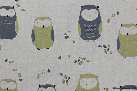 Sevenberry - Printed Cotton Canvas - Owls (Natural)