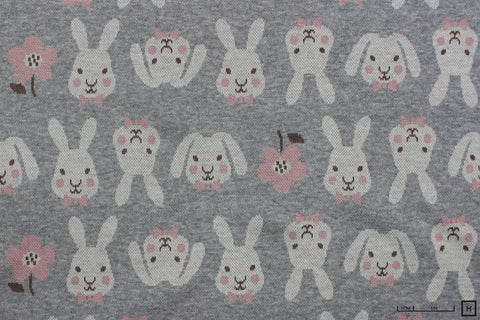 Kokka - Cotton Jacquard Knit - Rabbits (Pink/Grey)