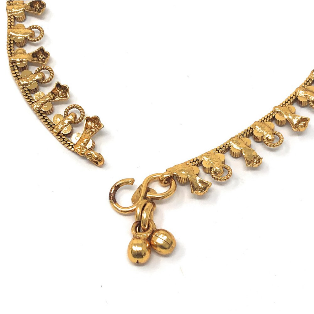 Pakistani Indian Gold Plated Bridal Payal Anklet Pair With Soft