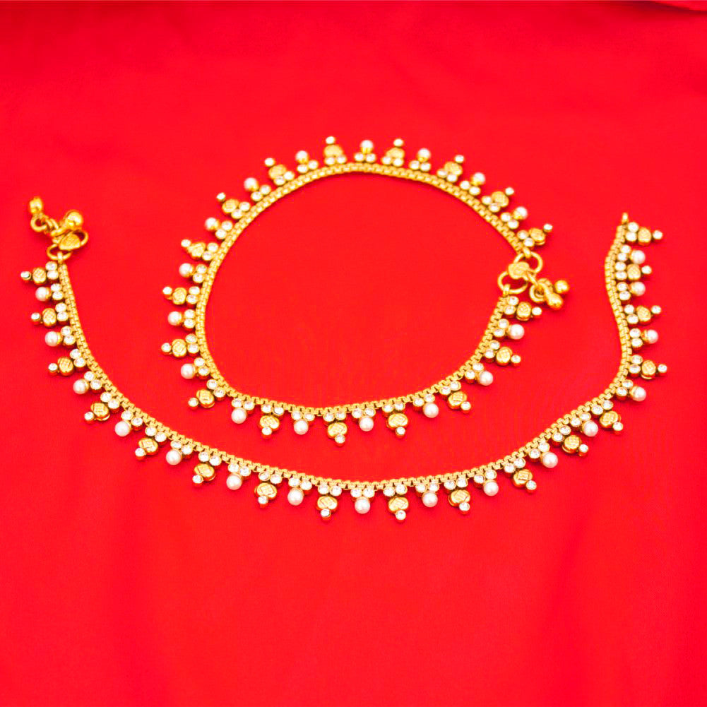 Bridal Indian Pakistani Ethnic Gold Plated Payal Anklet Pair with Soft  Bells Tiny Pearls
