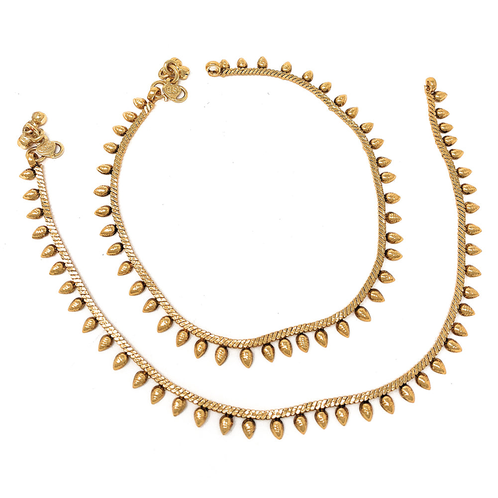 Traditional Indian Pakistani Ethnic Gold Plated Payal Anklet Pair Bells