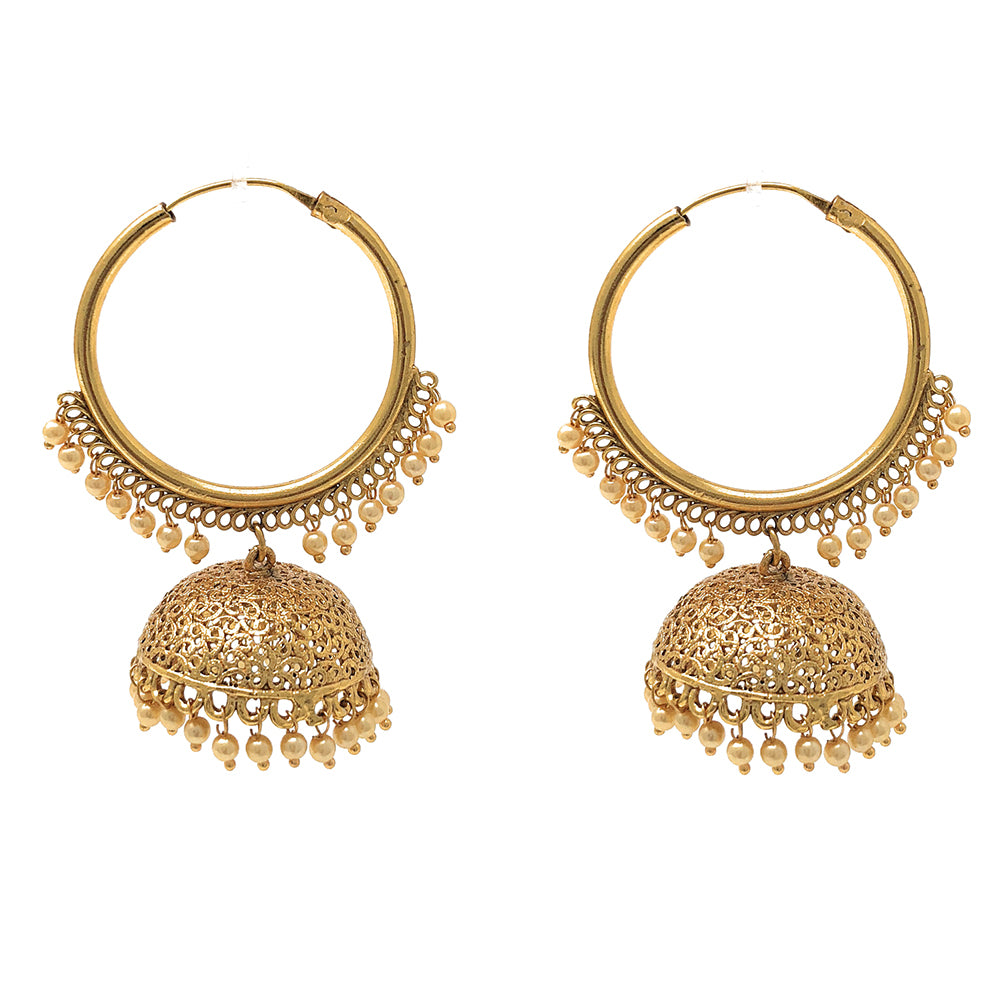 Bollywood Long Dangle Earrings Gold Plated With Pearls Red