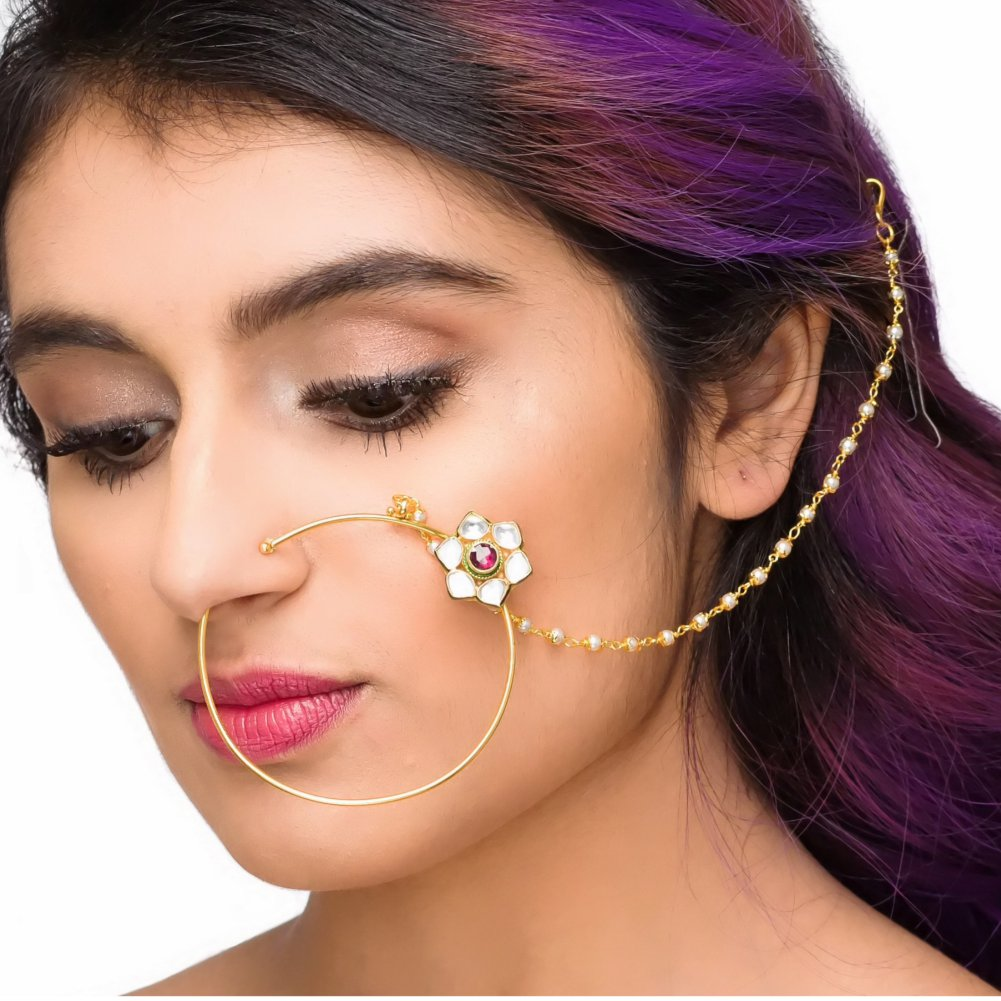 Big Gold Plated Bridal Indian Ethnic Vintage Nose Ring In Red