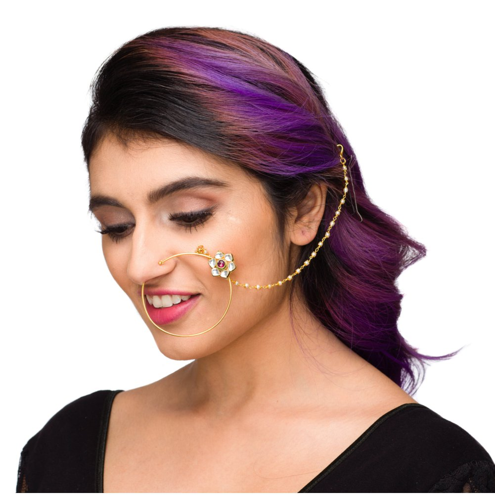 Ethnic Bridal Queen Padmavati Gold Plated Kundan Flower Big Nose Ring With Chain In Red White