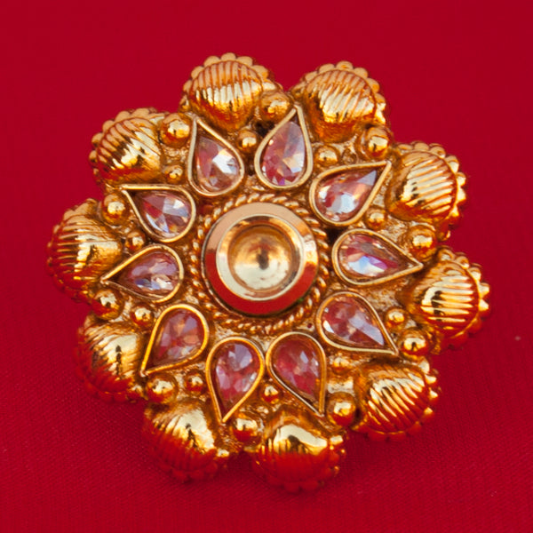 Indian Bollywood Ethnic Flower Gold Plated Adjustable Ring Size 4 to 10 in Cubic Zircon White