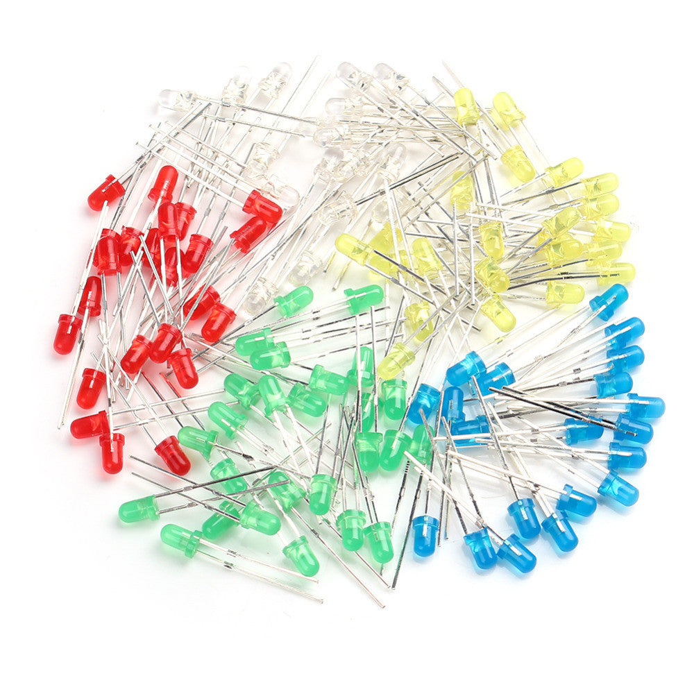 50Pcs 3mm LEDs Pack 10x Red Green Blue Yellow White