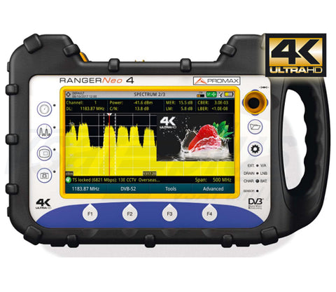 Promax RANGERNeo 4: High class field strength meter and spectrum analyzer with 4K decoder