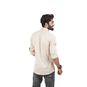 CHESTNUT BUTTER SATIN COTTON SHIRT