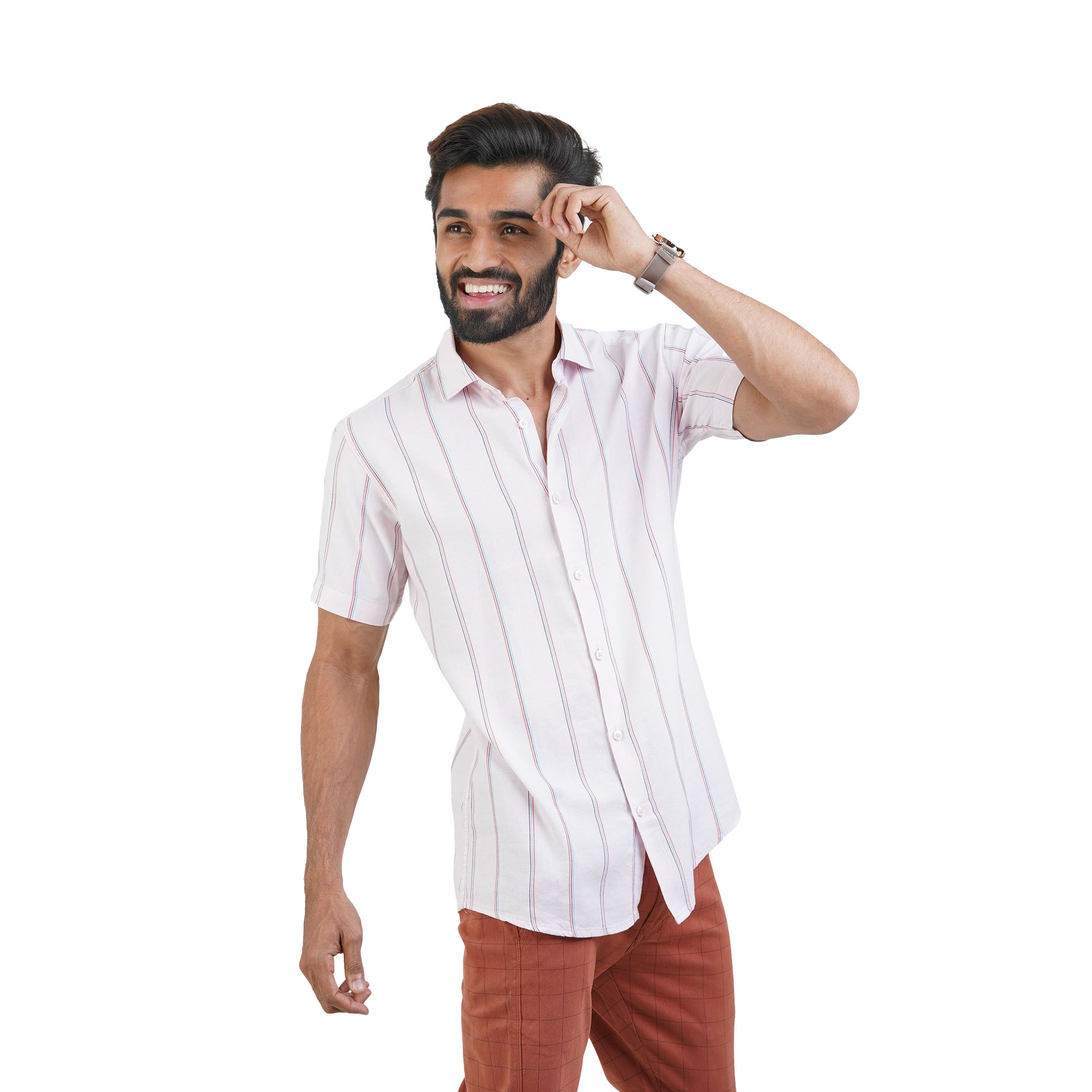 PINK STRIPED CASUAL SHIRT