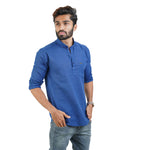 Load image into Gallery viewer, BLUE SOLID CASUAL KURTA SHIRT